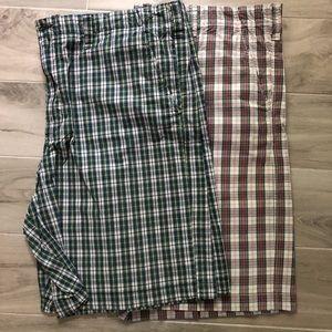 Merona Plaid Flat Front Shorts Sz 44 Lot of 2 Pair